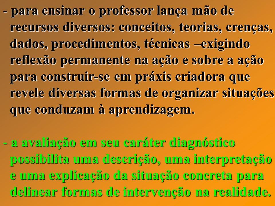- para ensinar o professor lança mão de recursos diversos: conceitos, teorias, crenças, recursos diversos: conceitos, teorias, crenças, dados, procedi