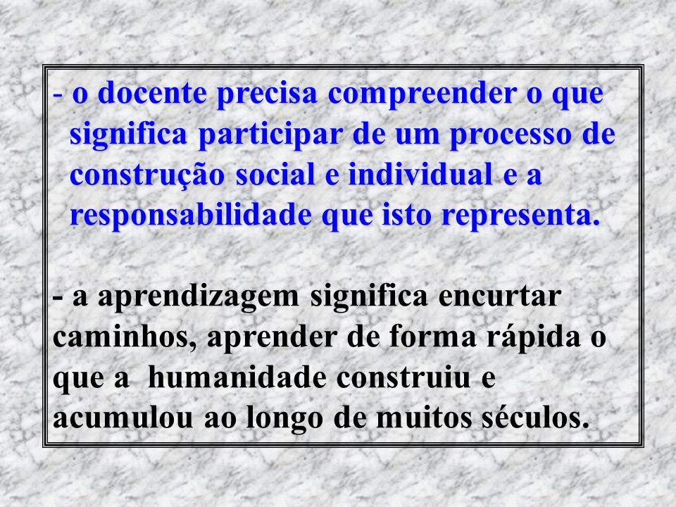 - o docente precisa compreender o que significa participar de um processo de significa participar de um processo de construção social e individual e a
