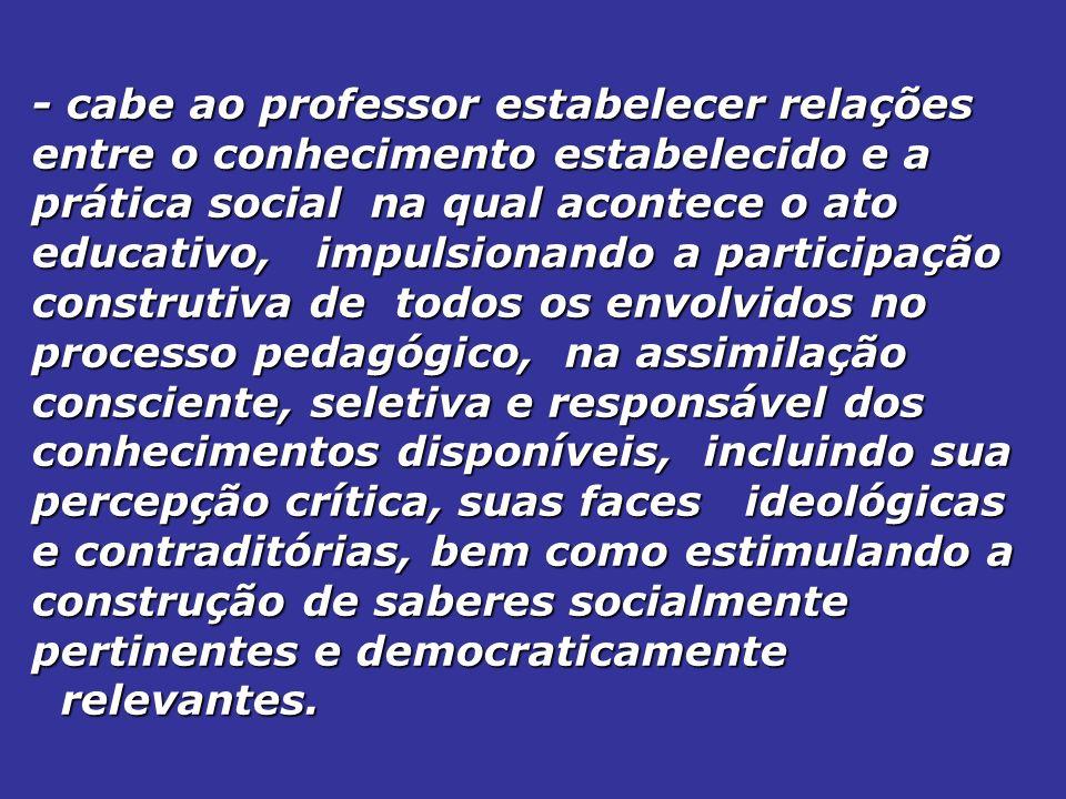 - cabe ao professor estabelecer relações entre o conhecimento estabelecido e a prática social na qual acontece o ato educativo, impulsionando a partic