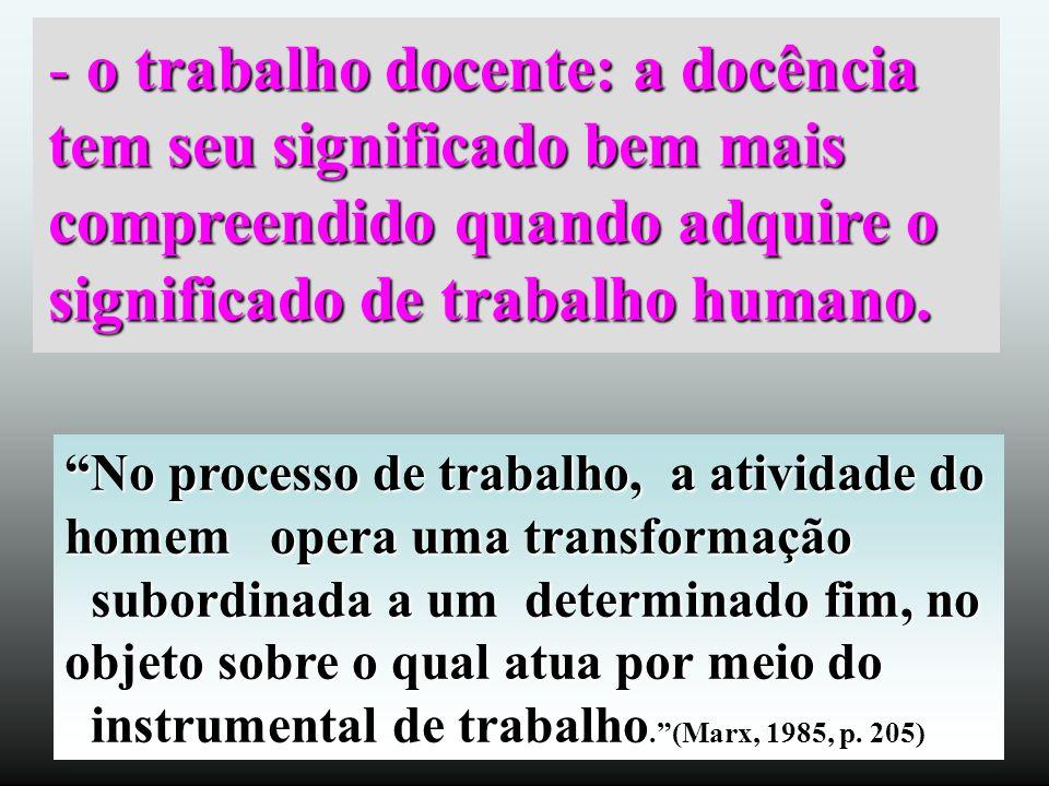 - o trabalho docente: a docência tem seu significado bem mais compreendido quando adquire o significado de trabalho humano. No processo de trabalho, a
