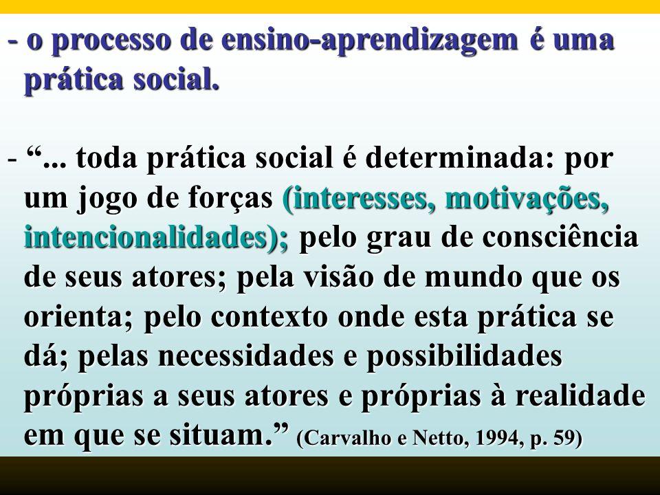 - o processo de ensino-aprendizagem é uma prática social. prática social. -... toda prática social é determinada: por um jogo de forças (interesses, m
