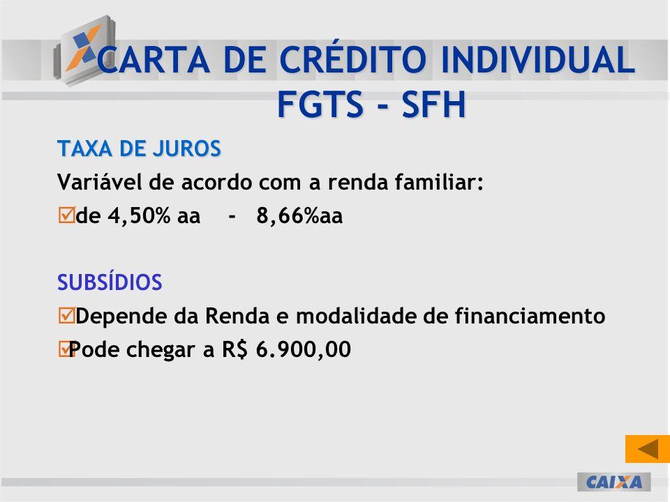 TAXA DE JUROS Variável de acordo com a renda familiar: de 4,50% aa - 8,66%aa SUBSÍDIOS Depende da Renda e modalidade de financiamento Pode chegar a R$ 6.900,00 CARTA DE CRÉDITO INDIVIDUAL FGTS - SFH