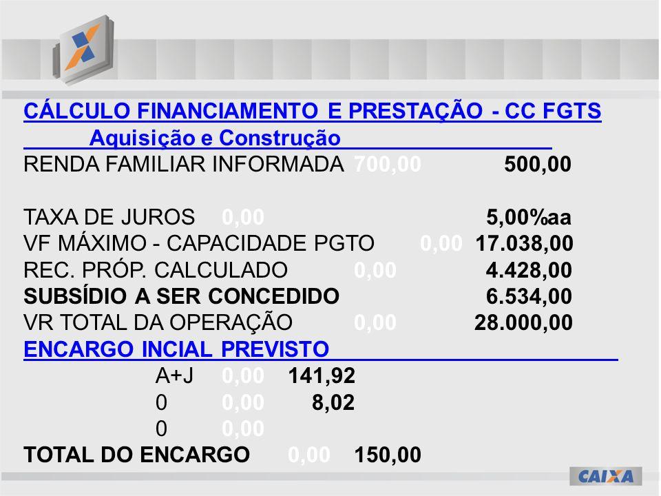 CÁLCULO FINANCIAMENTO E PRESTAÇÃO - CC FGTS Aquisição e Construção RENDA FAMILIAR INFORMADA700,00 500,00 TAXA DE JUROS0,00 5,00%aa VF MÁXIMO - CAPACIDADE PGTO0,00 17.038,00 REC.