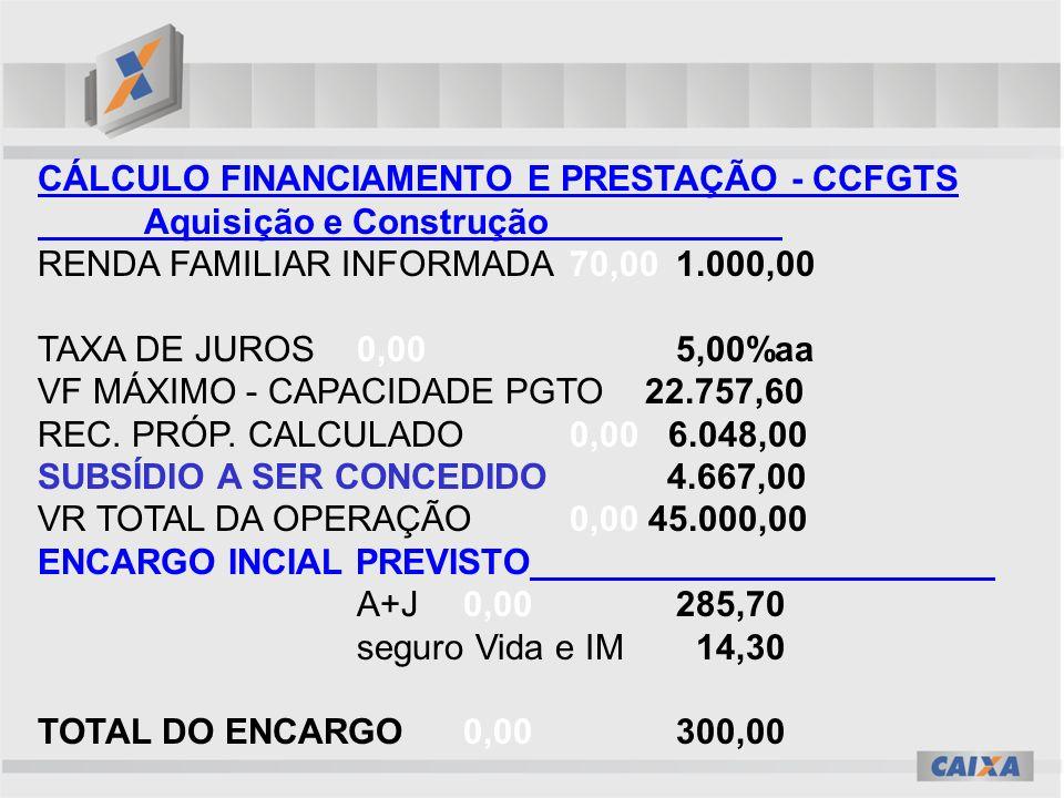 CÁLCULO FINANCIAMENTO E PRESTAÇÃO - CCFGTS Aquisição e Construção RENDA FAMILIAR INFORMADA70,00 1.000,00 TAXA DE JUROS0,00 5,00%aa VF MÁXIMO - CAPACIDADE PGTO 22.757,60 REC.