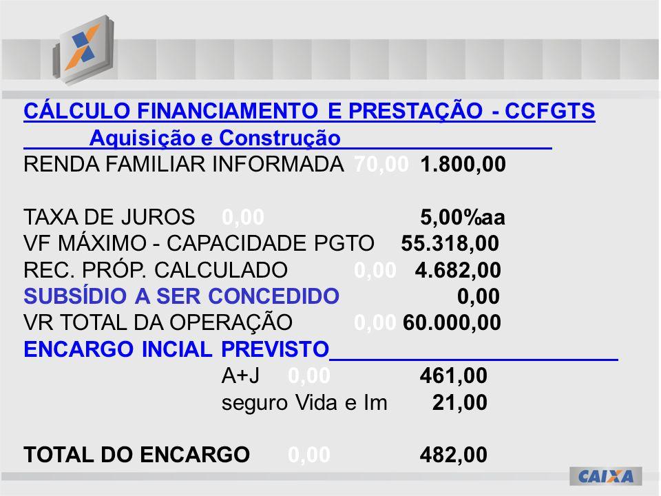 CÁLCULO FINANCIAMENTO E PRESTAÇÃO - CCFGTS Aquisição e Construção RENDA FAMILIAR INFORMADA70,00 1.800,00 TAXA DE JUROS0,00 5,00%aa VF MÁXIMO - CAPACIDADE PGTO 55.318,00 REC.