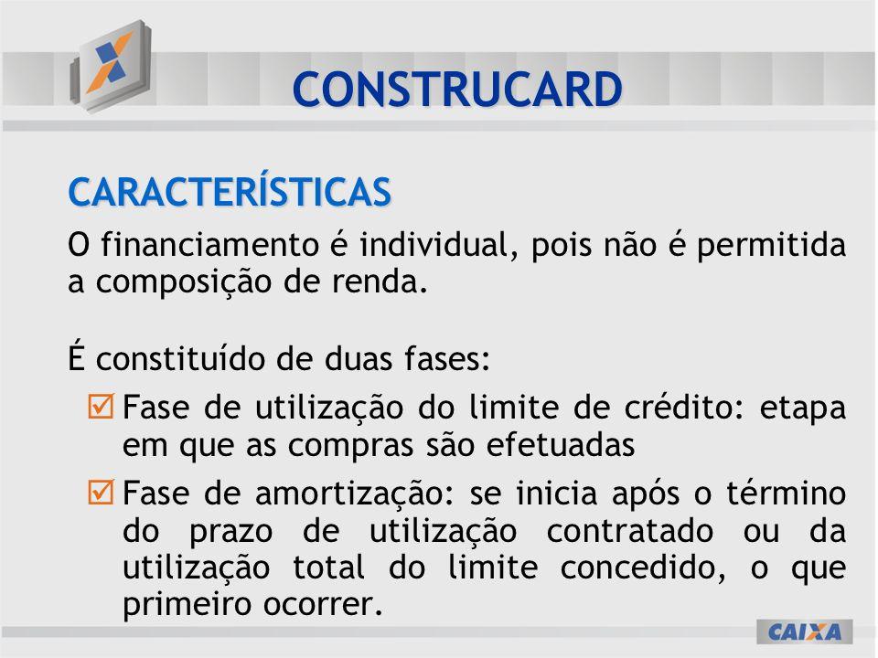 CARACTERÍSTICAS O financiamento é individual, pois não é permitida a composição de renda.