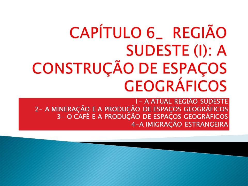 1- A ATUAL REGIÃO SUDESTE 2- A MINERAÇÃO E A PRODUÇÃO DE ESPAÇOS GEOGRÁFICOS 3- O CAFÉ E A PRODUÇÃO DE ESPAÇOS GEOGRÁFICOS 4-A IMIGRAÇÃO ESTRANGEIRA