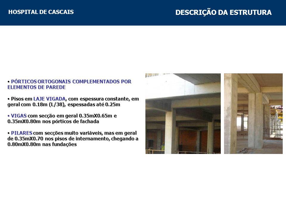 HOSPITAL DE CASCAIS DESCRIÇÃO DA ESTRUTURA PÓRTICOS ORTOGONAIS COMPLEMENTADOS POR ELEMENTOS DE PAREDE PÓRTICOS ORTOGONAIS COMPLEMENTADOS POR ELEMENTOS DE PAREDE Pisos em LAJE VIGADA, com espessura constante, em geral com 0.18m (L/38), espessadas até 0.25m Pisos em LAJE VIGADA, com espessura constante, em geral com 0.18m (L/38), espessadas até 0.25m VIGAS com secção em geral 0.35mX0.65m e 0.35mX0.80m nos pórticos de fachada VIGAS com secção em geral 0.35mX0.65m e 0.35mX0.80m nos pórticos de fachada PILARES com secções muito variáveis, mas em geral de 0.35mX0.70 nos pisos de internamento, chegando a 0.80mX0.80m nas fundações PILARES com secções muito variáveis, mas em geral de 0.35mX0.70 nos pisos de internamento, chegando a 0.80mX0.80m nas fundações