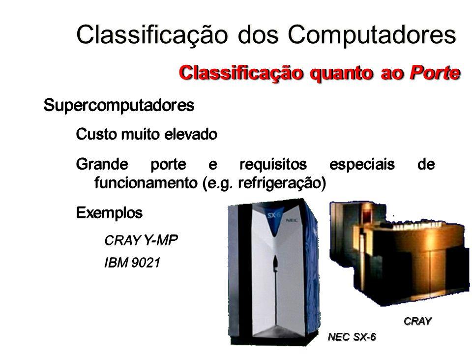 Supercomputadores Custo muito elevado Grande porte e requisitos especiais de funcionamento (e.g. refrigeração) Exemplos CRAY Y-MP IBM 9021 Supercomput