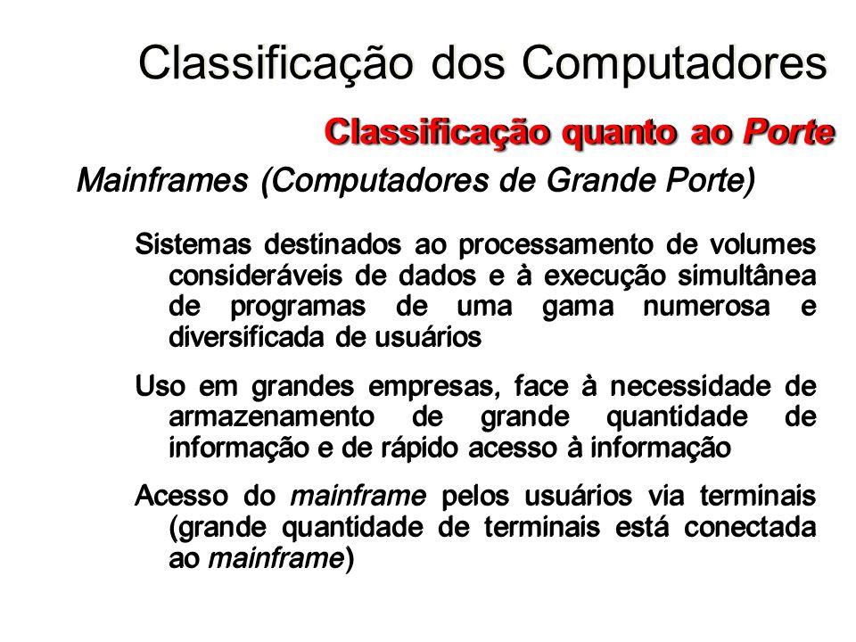 Mainframes (Computadores de Grande Porte) Sistemas destinados ao processamento de volumes consideráveis de dados e à execução simultânea de programas
