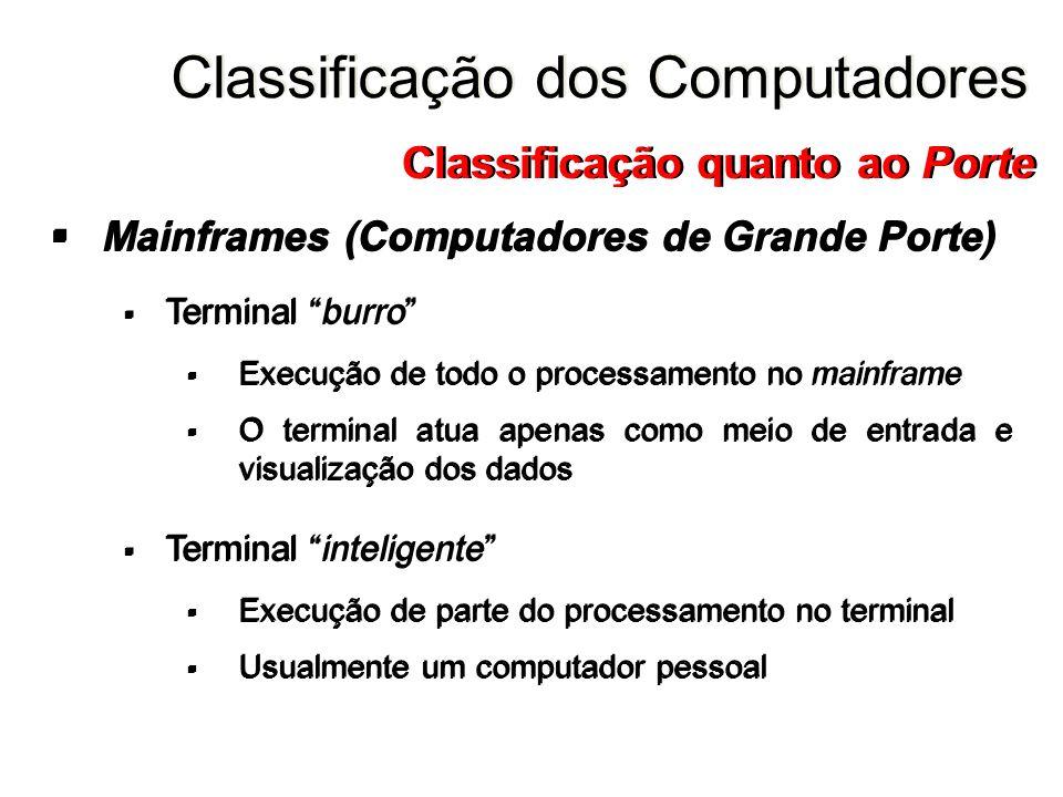 Mainframes (Computadores de Grande Porte) Terminal burro Execução de todo o processamento no mainframe O terminal atua apenas como meio de entrada e v