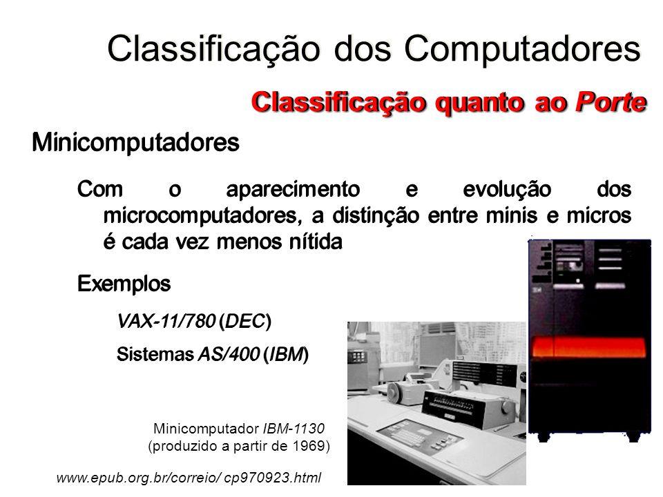 Minicomputadores Com o aparecimento e evolução dos microcomputadores, a distinção entre minis e micros é cada vez menos nítida Exemplos VAX-11/780 (DE