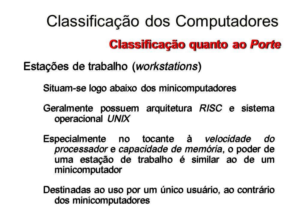 Estações de trabalho (workstations) Situam-se logo abaixo dos minicomputadores Geralmente possuem arquitetura RISC e sistema operacional UNIX Especial