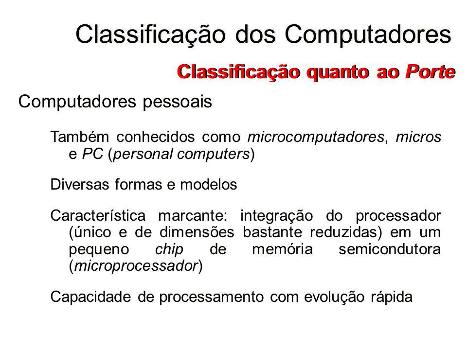 Computadores pessoais Também conhecidos como microcomputadores, micros e PC (personal computers) Diversas formas e modelos Característica marcante: in
