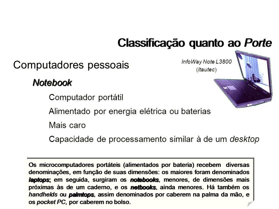 Classificação quanto ao Porte laptops;notebooks netbooks palmtops Os microcomputadores portáteis (alimentados por bateria) recebem diversas denominaçõ