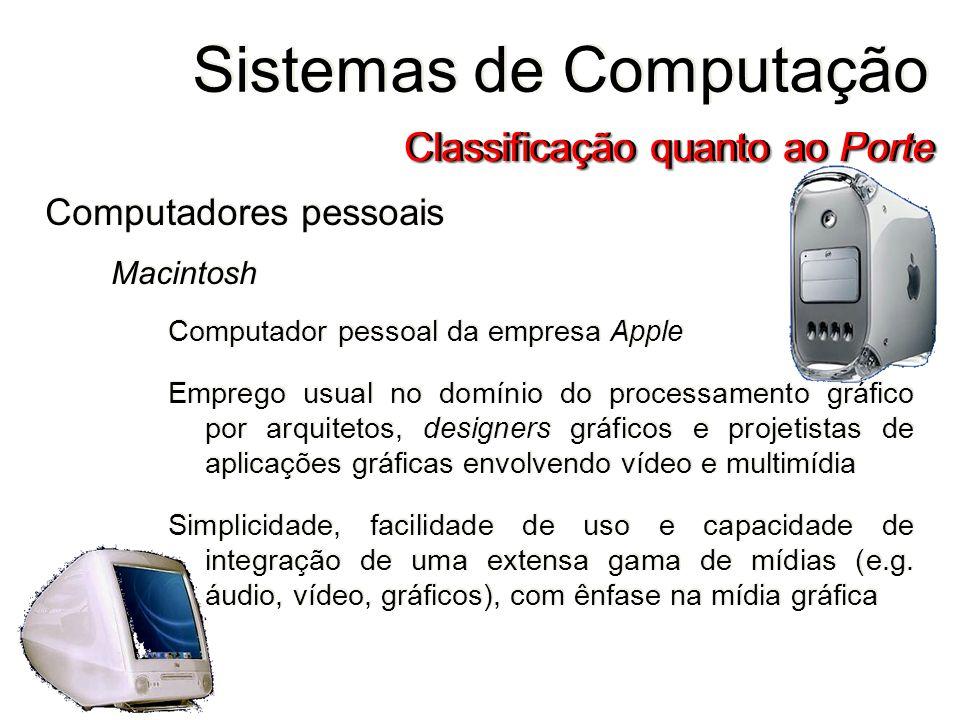 24 Computadores pessoais Macintosh Computador pessoal da empresa Apple Emprego usual no domínio do processamento gráfico por arquitetos, designers grá