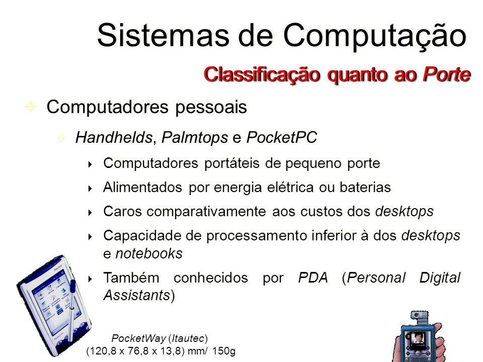 Computadores pessoais Handhelds, Palmtops e PocketPC Computadores portáteis de pequeno porte Alimentados por energia elétrica ou baterias Caros compar