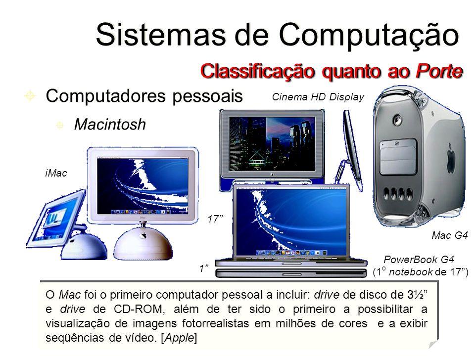 Sistemas de Computação Classificação quanto ao Porte O Mac foi o primeiro computador pessoal a incluir: drive de disco de 3½ e drive de CD-ROM, além d