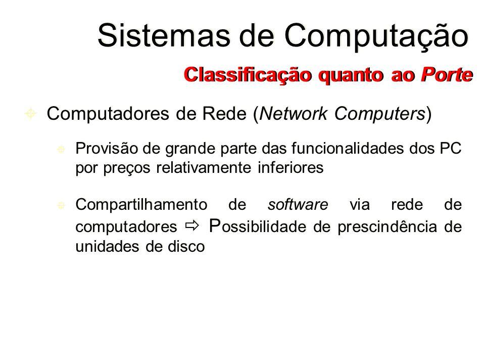 Computadores de Rede (Network Computers) Provisão de grande parte das funcionalidades dos PC por preços relativamente inferiores Compartilhamento de s