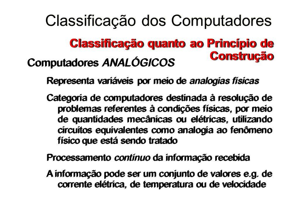 Computadores ANALÓGICOS Representa variáveis por meio de analogias físicas Categoria de computadores destinada à resolução de problemas referentes à c
