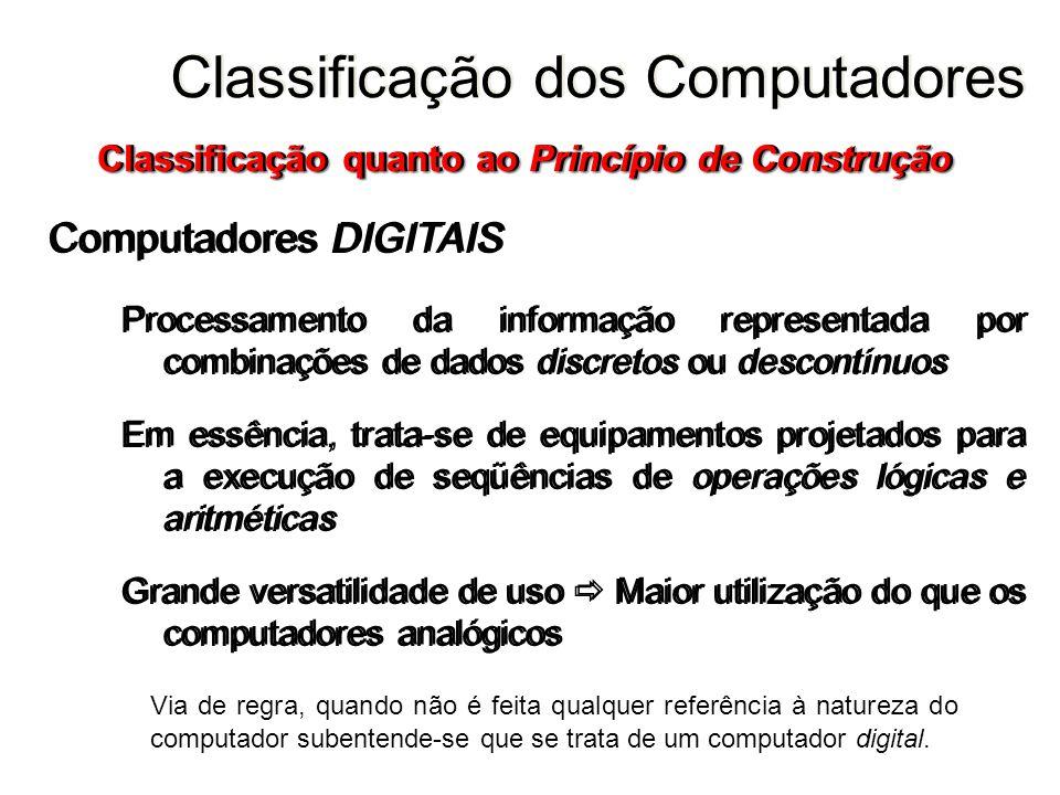 Computadores DIGITAIS Processamento da informação representada por combinações de dados discretos ou descontínuos Em essência, trata-se de equipamento