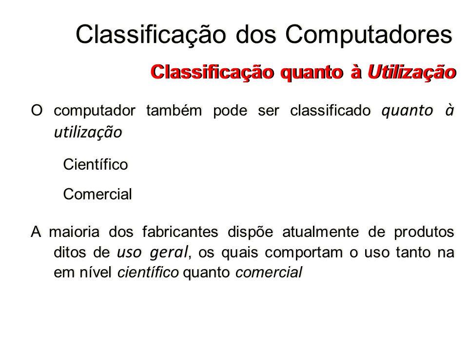 O computador também pode ser classificado quanto à utilização Científico Comercial A maioria dos fabricantes dispõe atualmente de produtos ditos de us