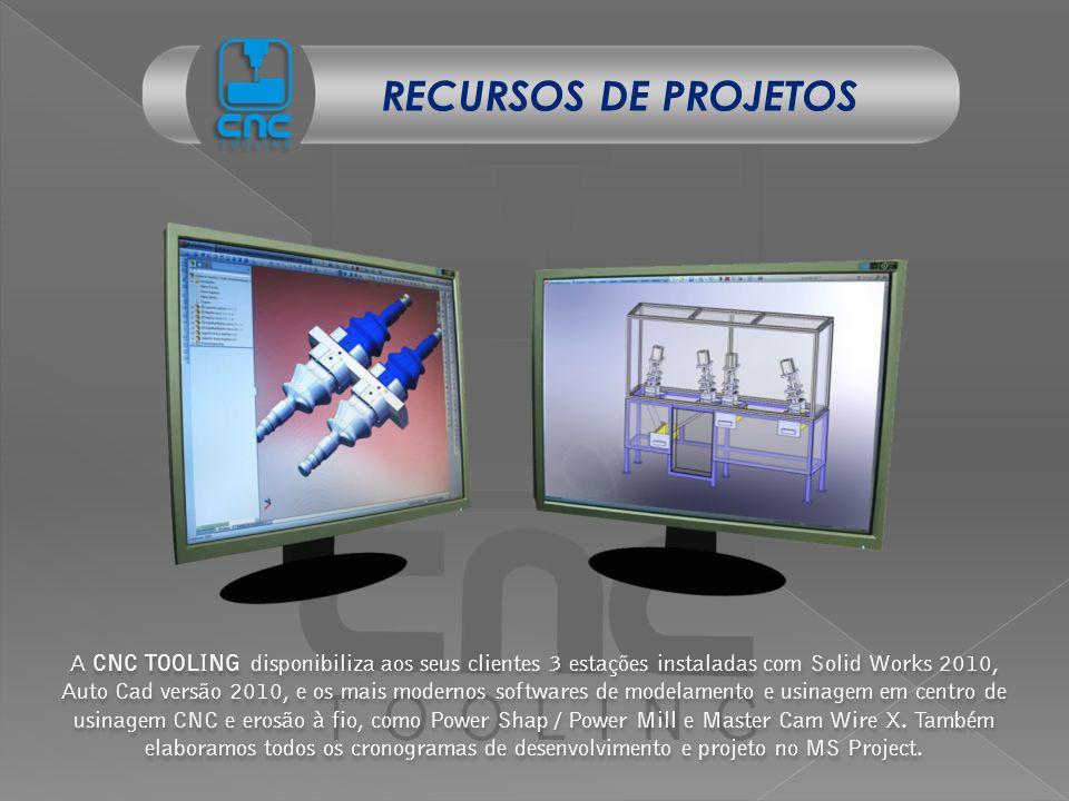 A CNC TOOLING disponibiliza aos seus clientes 3 estações instaladas com Solid Works 2010, Auto Cad versão 2010, e os mais modernos softwares de modela