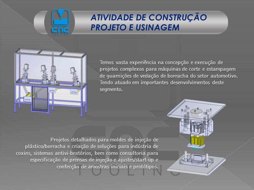 Temos vasta experiência na concepção e execução de projetos complexos para máquinas de corte e estampagem de guarnições de vedação de borracha do seto