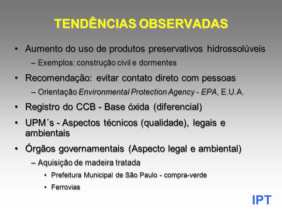 IPT PRÉ-TRATAMENTO (USO INDUSTRIAL) Produtos Preservativos (Lista IBAMA-26/09/2005) NATUREZA CLASSE TOXICOLÓGICA DO PRODUTO PRESERVATIVO IIIIIIIV INSETICIDA LindanoEndosulfamDeltametrina- FUNGICIDA Pentaclor.