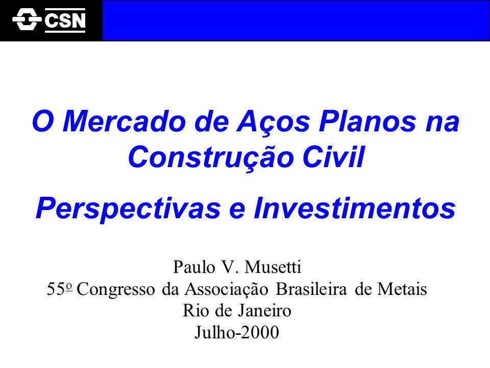 O Mercado de Aços Planos na Construção Civil Perspectivas e Investimentos Paulo V. Musetti 55 o Congresso da Associação Brasileira de Metais Rio de Ja
