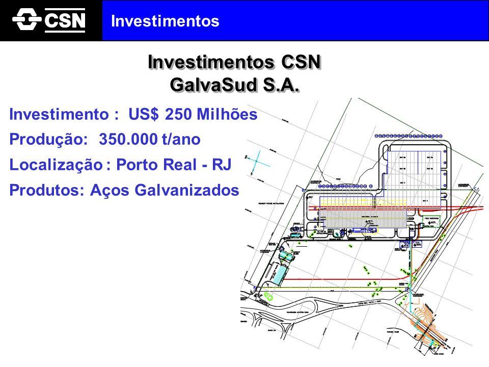 Investimento : US$ 250 Milhões Produção: 350.000 t/ano Localização : Porto Real - RJ Produtos: Aços Galvanizados Investimentos CSN GalvaSud S.A. Inves