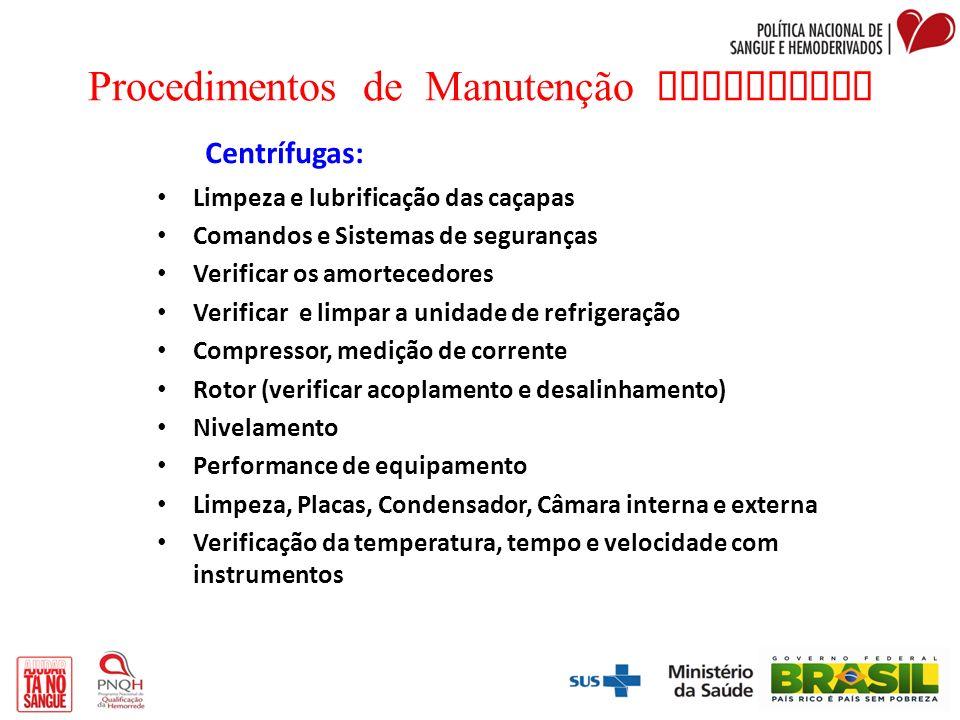 Procedimentos de Manutenção Preventiva Centrífugas: Limpeza e lubrificação das caçapas Comandos e Sistemas de seguranças Verificar os amortecedores Ve