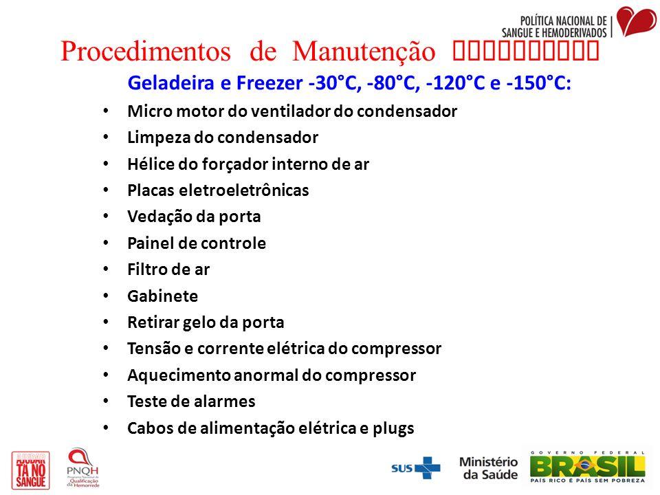 Procedimentos de Manutenção Preventiva Geladeira e Freezer -30°C, -80°C, -120°C e -150°C: Micro motor do ventilador do condensador Limpeza do condensa