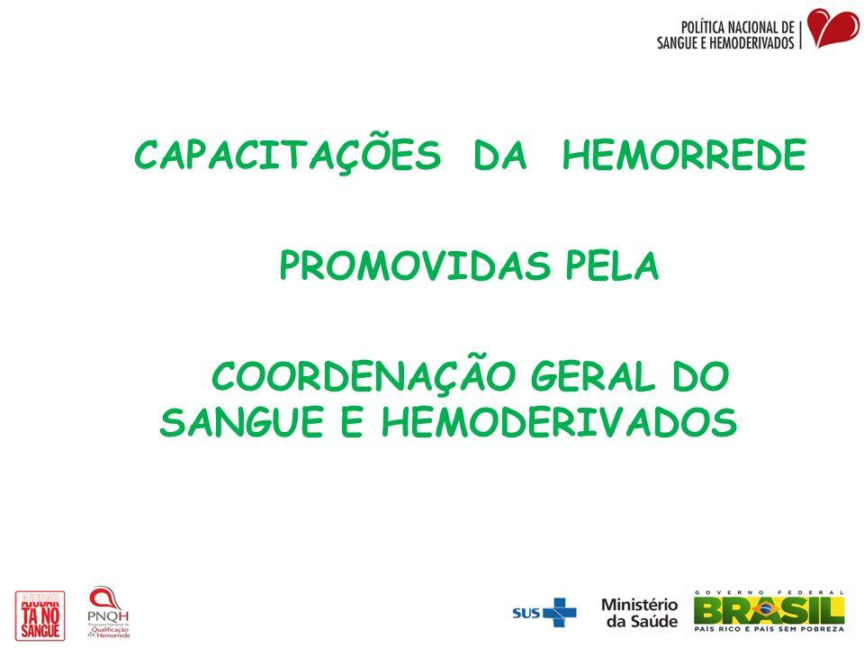 CAPACITAÇÕES DA HEMORREDE PROMOVIDAS PELA COORDENAÇÃO GERAL DO SANGUE E HEMODERIVADOS