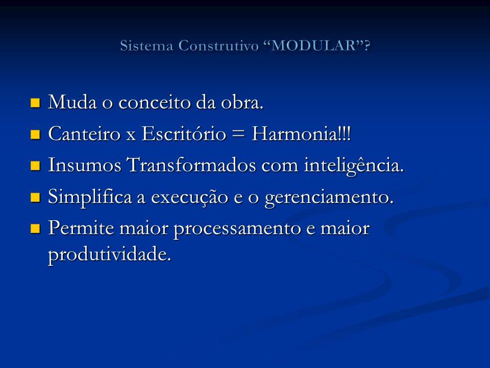 Muda o conceito da obra. Muda o conceito da obra. Canteiro x Escritório = Harmonia!!! Canteiro x Escritório = Harmonia!!! Insumos Transformados com in