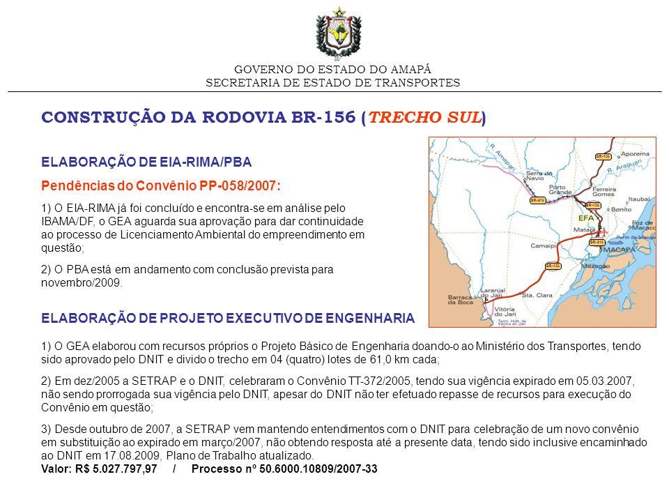 CONSTRUÇÃO DA RODOVIA BR-156 ( TRECHO SUL ) GOVERNO DO ESTADO DO AMAPÁ SECRETARIA DE ESTADO DE TRANSPORTES ELABORAÇÃO DE EIA-RIMA/PBA Pendências do Co