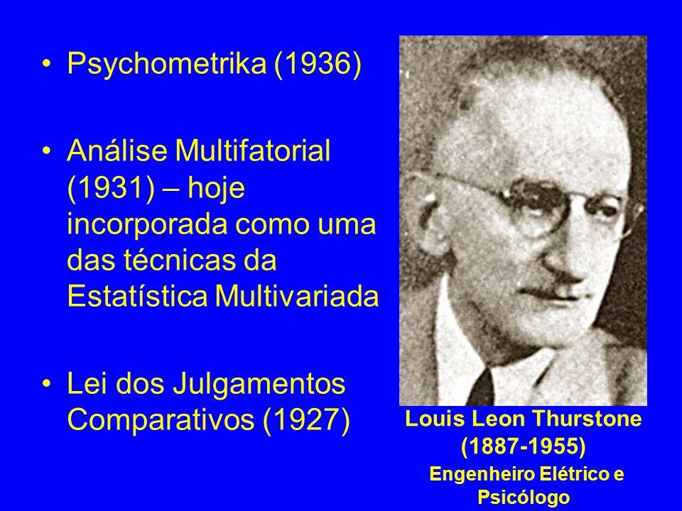 Louis Leon Thurstone (1887-1955) Engenheiro Elétrico e Psicólogo Psychometrika (1936) Análise Multifatorial (1931) – hoje incorporada como uma das téc