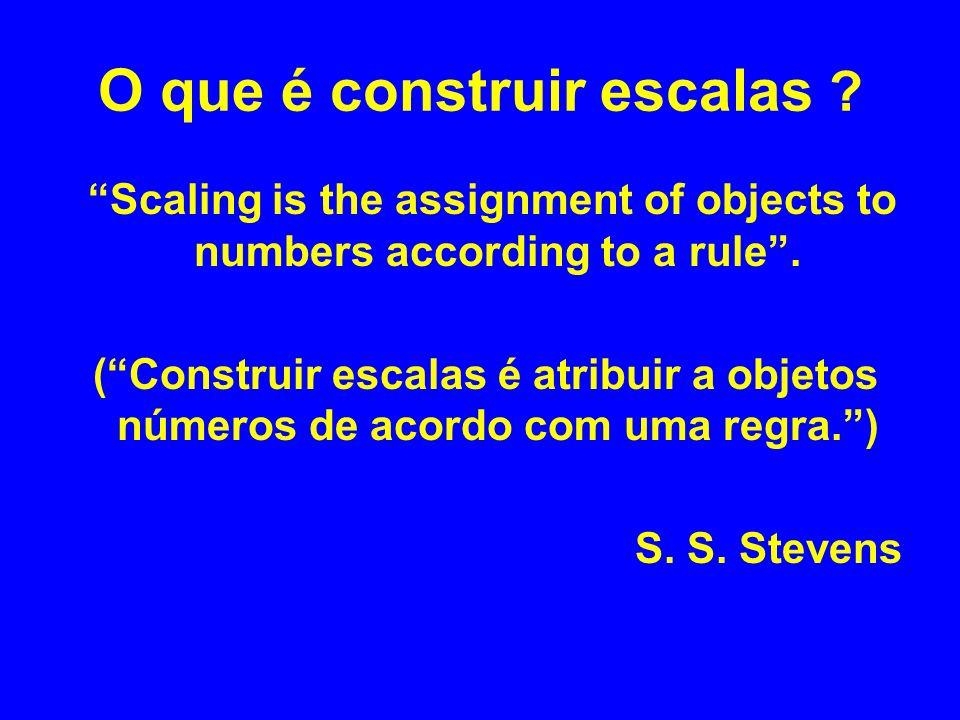 O que é construir escalas ? Scaling is the assignment of objects to numbers according to a rule. (Construir escalas é atribuir a objetos números de ac