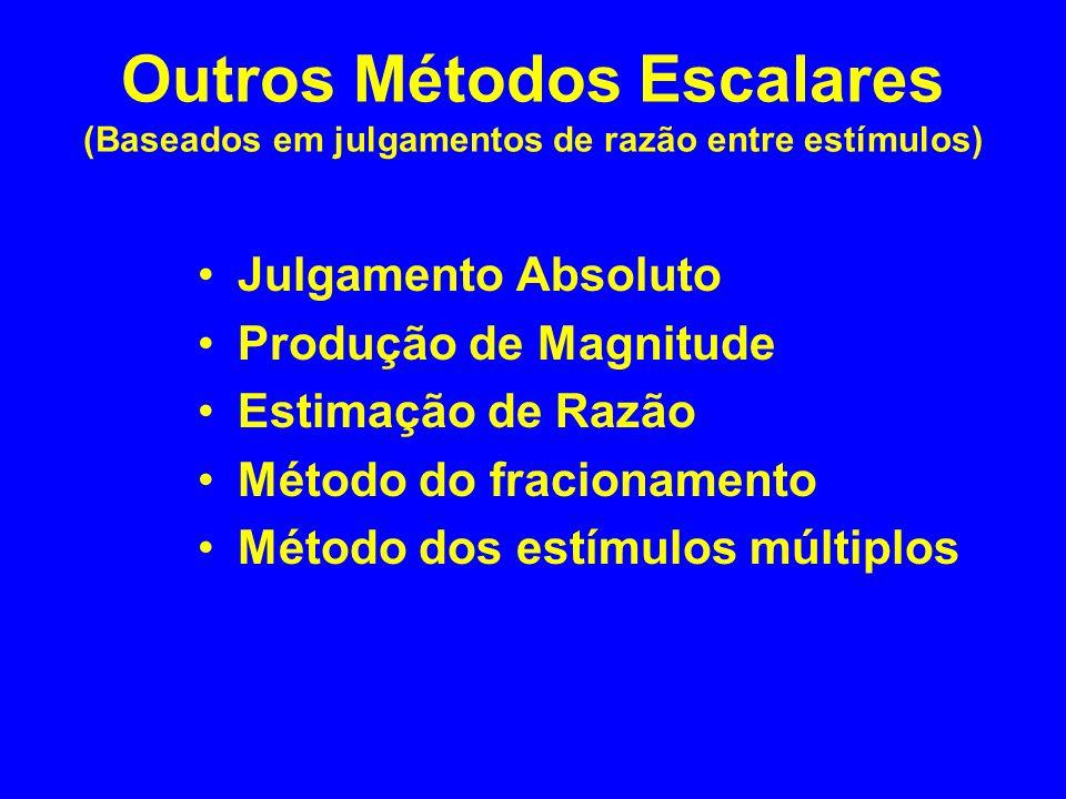 Outros Métodos Escalares (Baseados em julgamentos de razão entre estímulos) Julgamento Absoluto Produção de Magnitude Estimação de Razão Método do fra