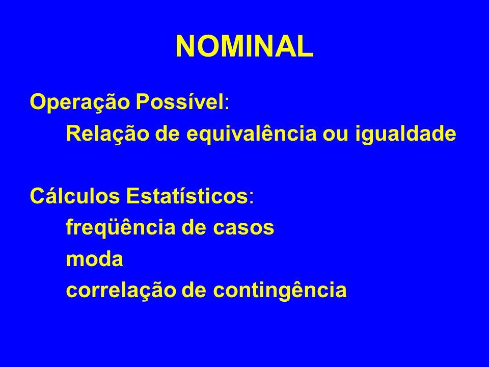 ORDINAL Operações Possíveis: Relação de equivalência ou igualdade Relação de ordem ( > ou < ) Cálculos Estatísticos: freqüência de casos moda, correlação de contingência mediana e percentil correlação de postos (Spearman)