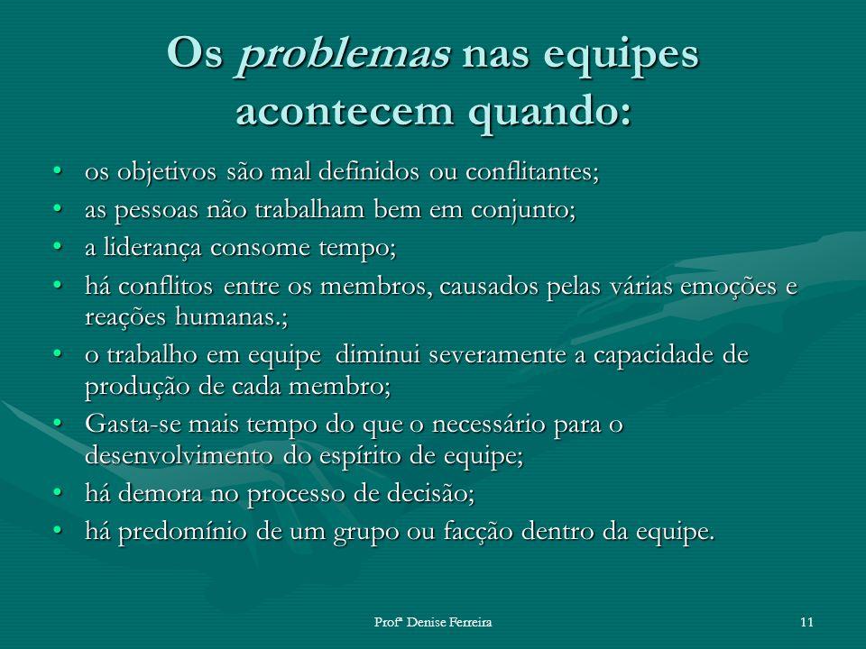 Profª Denise Ferreira11 Os problemas nas equipes acontecem quando: os objetivos são mal definidos ou conflitantes;os objetivos são mal definidos ou co