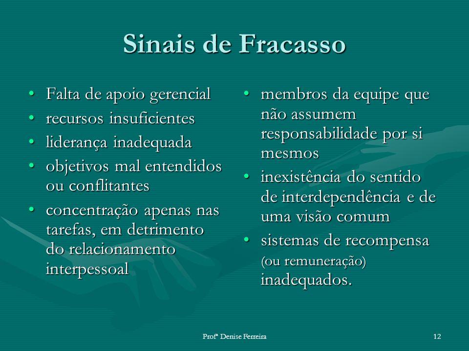 Profª Denise Ferreira12 Sinais de Fracasso Falta de apoio gerencialFalta de apoio gerencial recursos insuficientesrecursos insuficientes liderança ina
