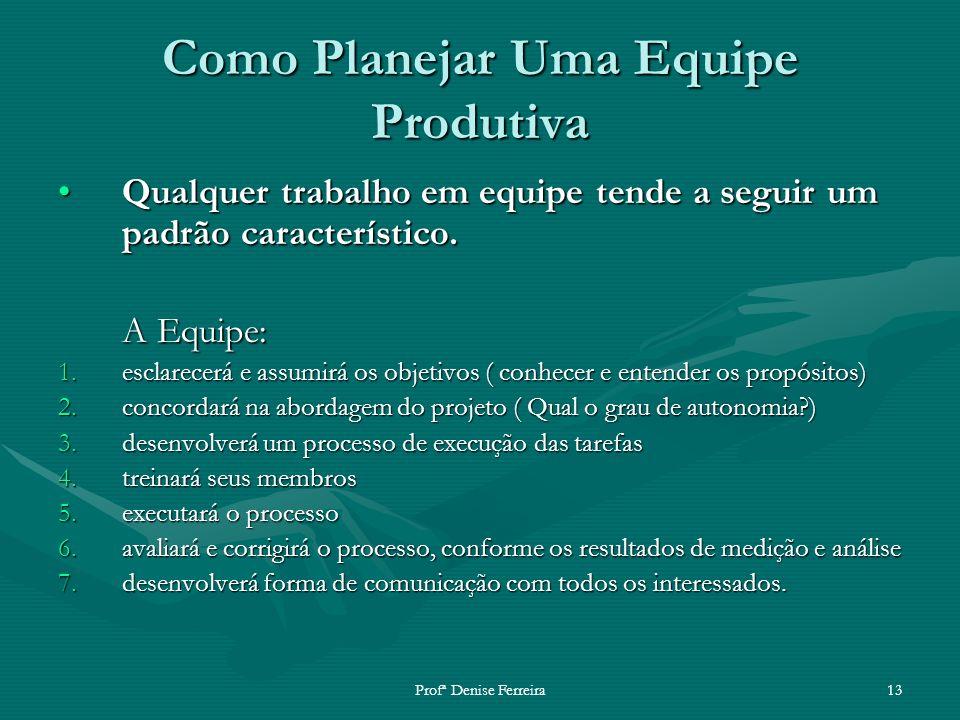 Profª Denise Ferreira13 Como Planejar Uma Equipe Produtiva Qualquer trabalho em equipe tende a seguir um padrão característico.Qualquer trabalho em eq