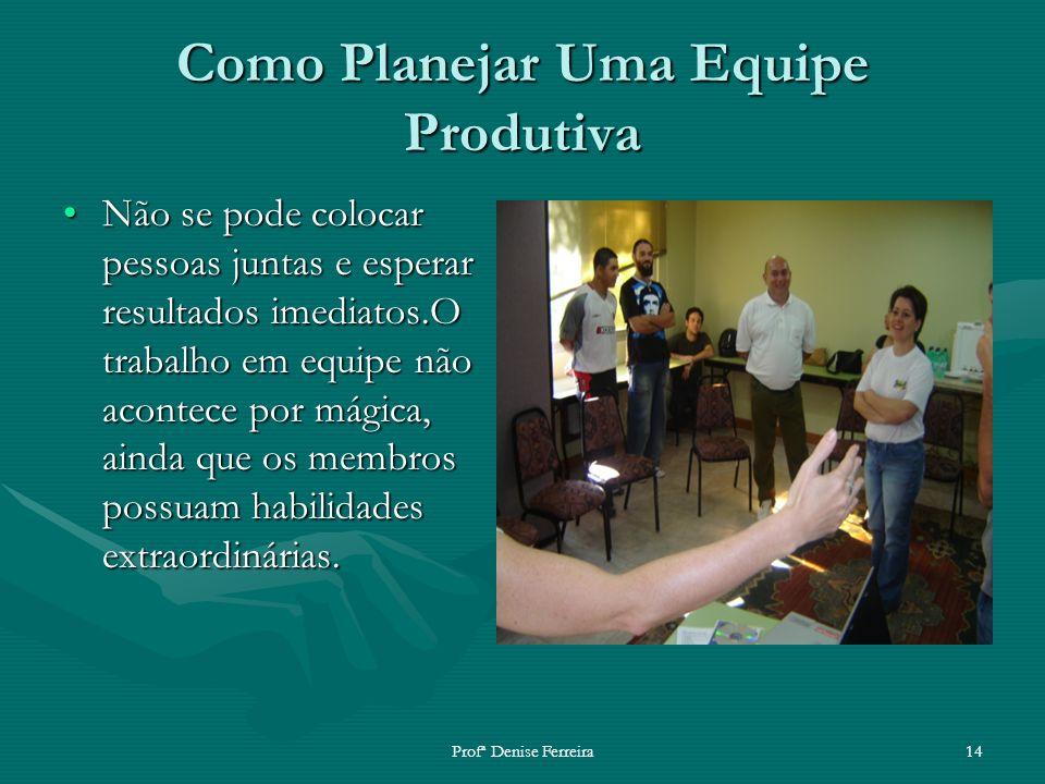 Profª Denise Ferreira14 Como Planejar Uma Equipe Produtiva Não se pode colocar pessoas juntas e esperar resultados imediatos.O trabalho em equipe não