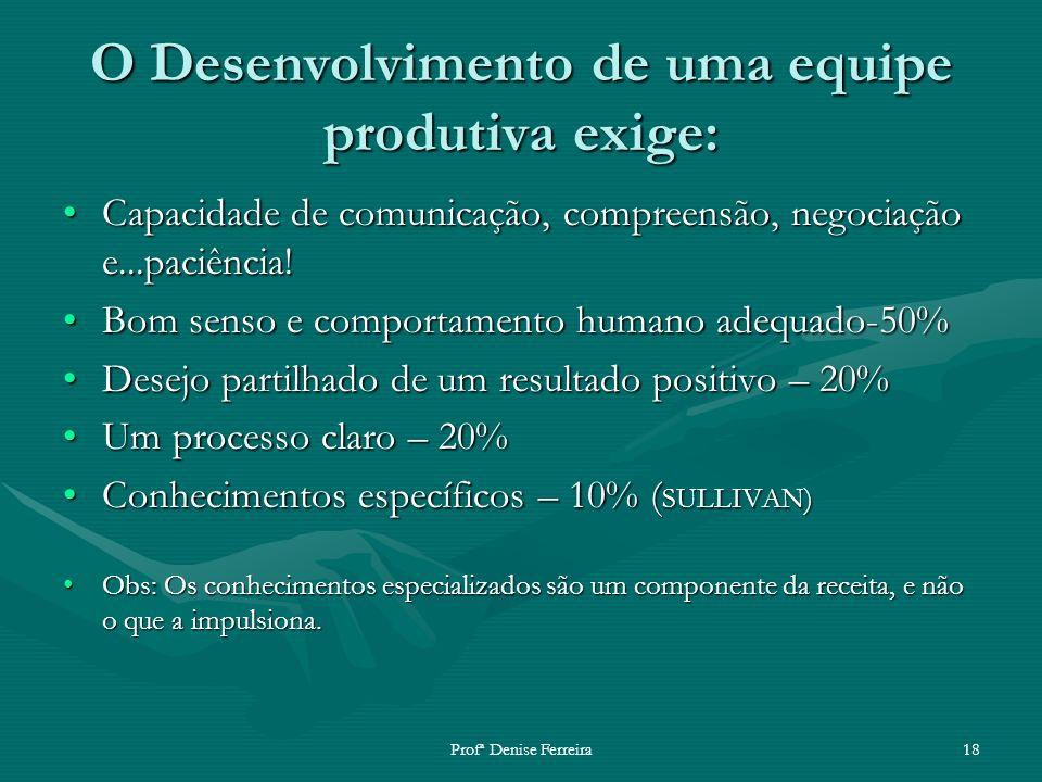 Profª Denise Ferreira18 O Desenvolvimento de uma equipe produtiva exige: Capacidade de comunicação, compreensão, negociação e...paciência!Capacidade d