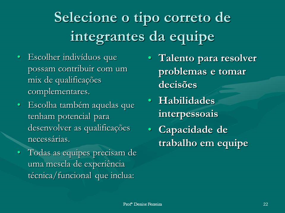 Profª Denise Ferreira22 Selecione o tipo correto de integrantes da equipe Escolher indivíduos que possam contribuir com um mix de qualificações comple