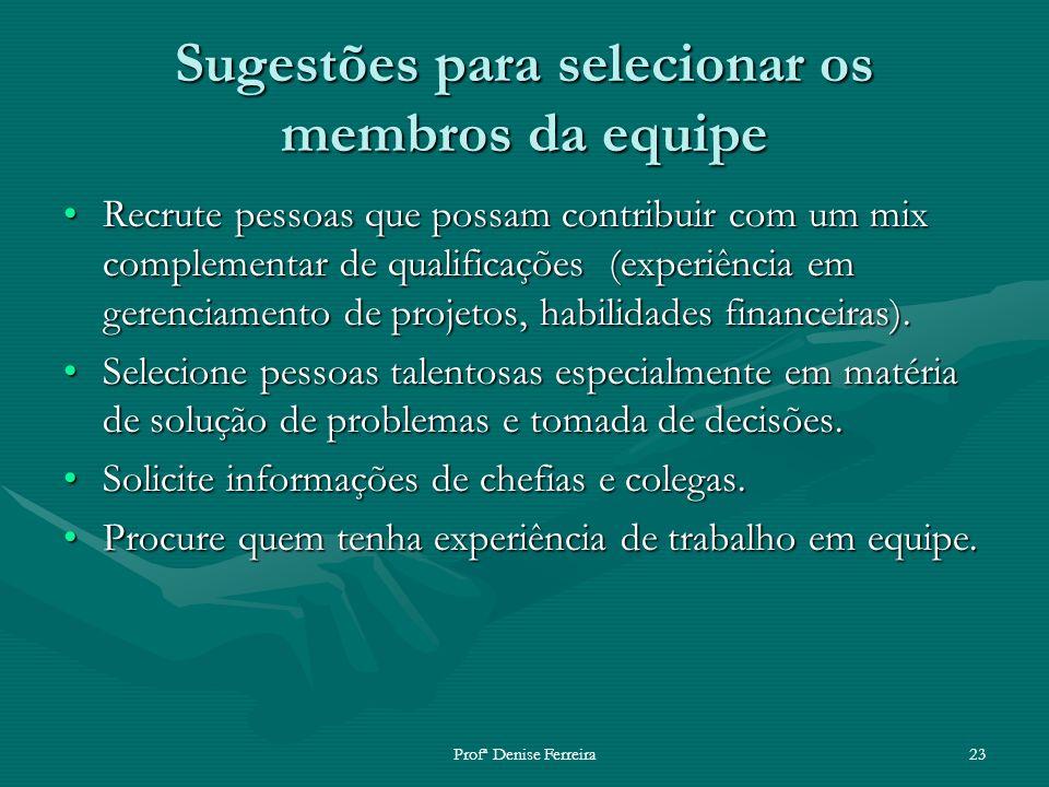 Profª Denise Ferreira23 Sugestões para selecionar os membros da equipe Recrute pessoas que possam contribuir com um mix complementar de qualificações