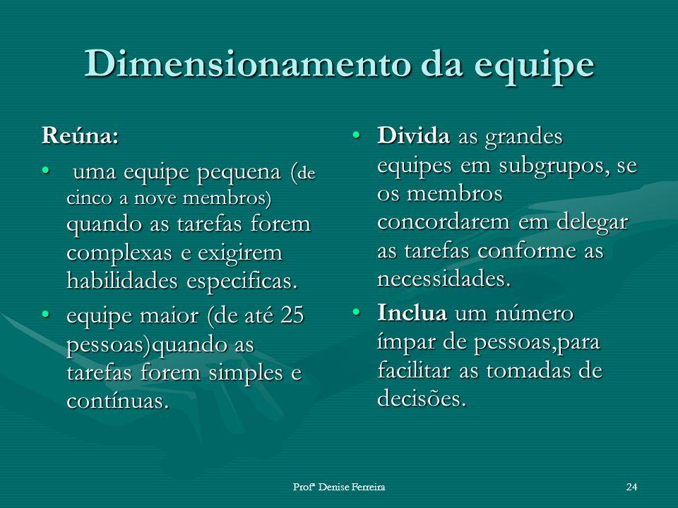 Profª Denise Ferreira24 Dimensionamento da equipe Reúna: uma equipe pequena ( de cinco a nove membros ) quando as tarefas forem complexas e exigirem h