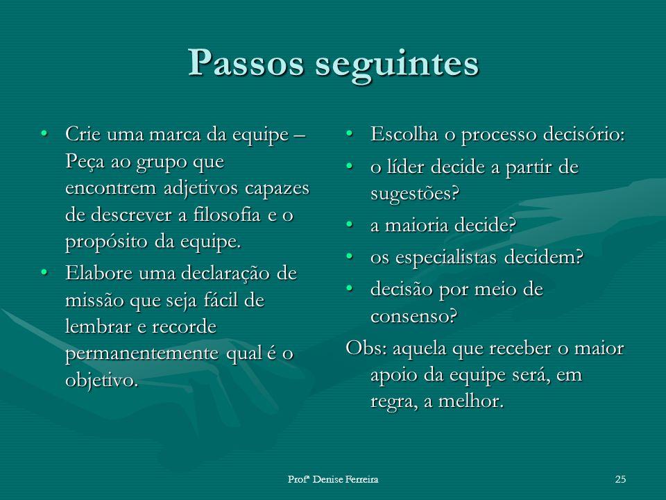 Profª Denise Ferreira25 Passos seguintes Crie uma marca da equipe – Peça ao grupo que encontrem adjetivos capazes de descrever a filosofia e o propósi