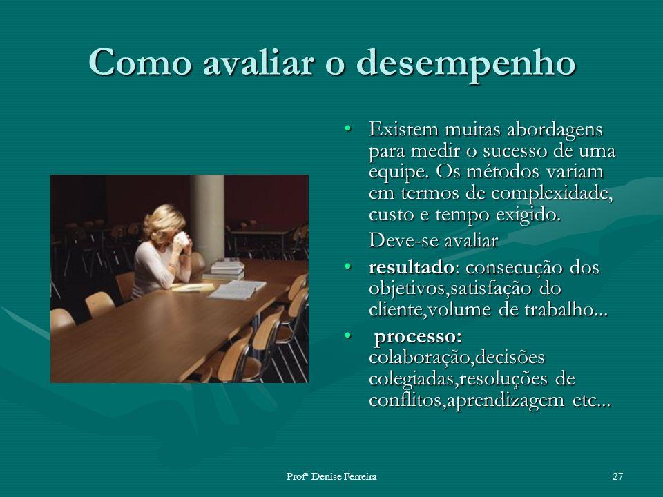 Profª Denise Ferreira27 Como avaliar o desempenho Existem muitas abordagens para medir o sucesso de uma equipe. Os métodos variam em termos de complex